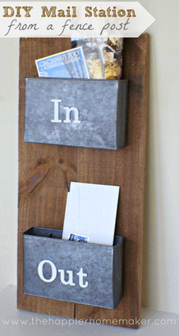 DIY Ideas With Old Fence Posts - Mail Station From A Fence Post - Rustic Farmhouse Decor Tutorials and Projects Made With An Old Fence Post - Easy Vintage Shelving, Wall Art, Picture Frames and Home Decor for Kitchen, Living Room and Bathroom - Creative Country Crafts, Seating, Furniture, Patio Decor and Rustic Wall Art and Accessories to Make and Sell
