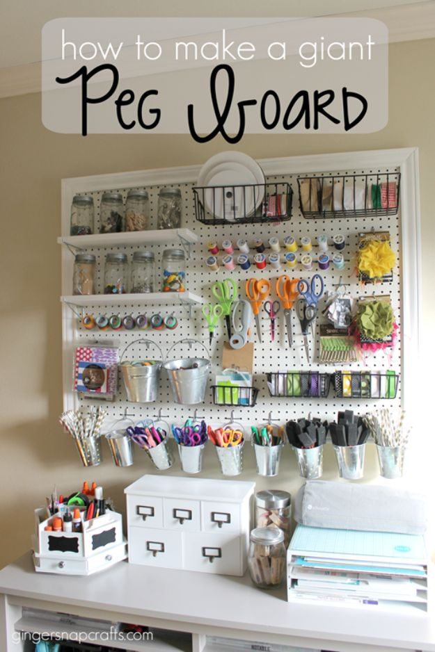 DIY Craft Room Ideas and Craft Room Organization Projects - Make A Giant Peg Board - Cool Ideas for Do It Yourself Craft Storage, Craft Room Decor and Organizing Project Ideas - fabric, paper, pens, creative tools, crafts supplies, shelves and sewing notions http://diyjoy.com/craft-room-organizing-ideas