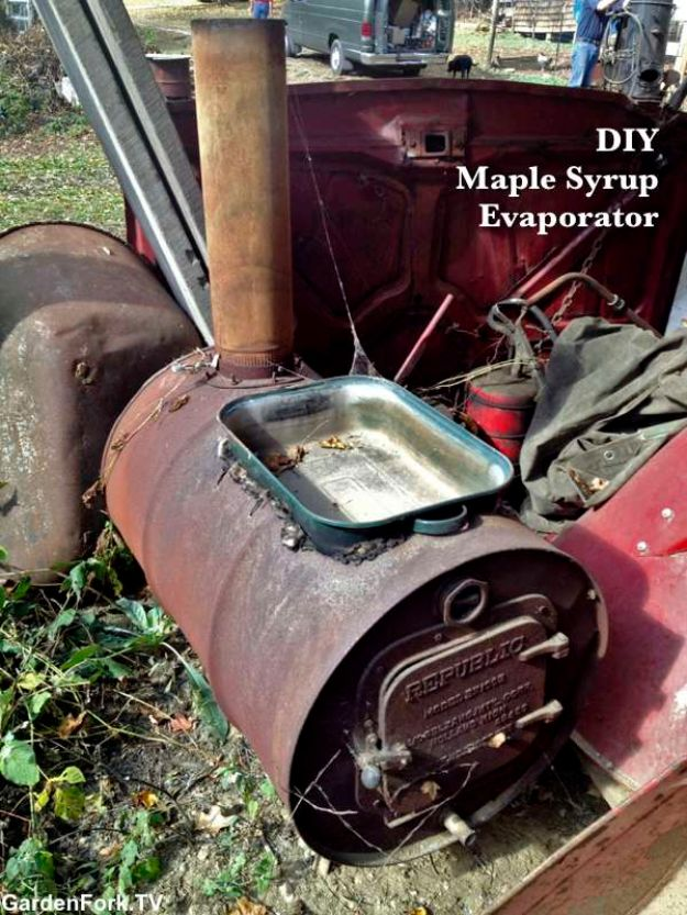 DIY Ideas With Old Barrels - Maple Syrup Evaporator - Rustic Farmhouse Decor Tutorials and Projects Made With a Barrel - Easy Vintage Home Decor for Kitchen, Living Room and Bathroom - Creative Country Crafts, Dog Beds, Seating, Furniture, Patio Decor and Rustic Wall Art and Accessories to Make and Sell tp://diyjoy.com/diy-projects-old-barrels