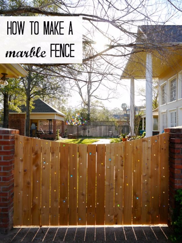 DIY Ideas With Old Fence Posts - Marble Fence - Rustic Farmhouse Decor Tutorials and Projects Made With An Old Fence Post - Easy Vintage Shelving, Wall Art, Picture Frames and Home Decor for Kitchen, Living Room and Bathroom - Creative Country Crafts, Seating, Furniture, Patio Decor and Rustic Wall Art and Accessories to Make and Sell http://diyjoy.com/diy-projects-old-windows