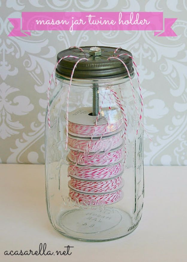 DIY Craft Room Storage Ideas and Craft Room Organization Projects - Mason Jar Twine Holder - Cool Ideas for Do It Yourself Craft Storage, Craft Room Decor and Organizing Project Ideas - fabric, paper, pens, creative tools, crafts supplies, shelves and sewing notions #diyideas #craftroom