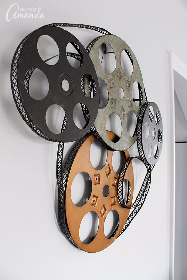 DIY Media Room Ideas - Metal Movie Reel Wall Art - Do It Yourslef TV Consoles, Wall Art, Sofas and Seating, Chairs, TV Stands, Remote Holders and Shelving Tutorials - Creative Furniture for Movie Rooms and Video Game Stations #mediaroom #diydecor