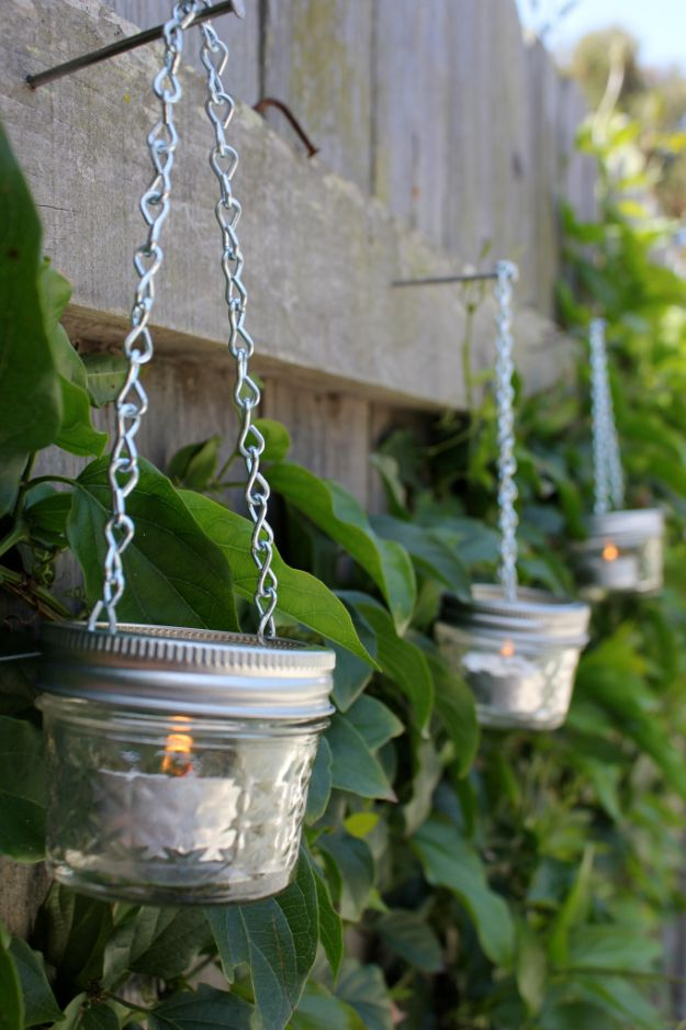 DIY Outdoor Lighting Ideas - Mini Mason Jar Garden Lights - Do It Yourself Lighting Ideas for the Backyard, Patio, Porch and Pool - Lights, Chandeliers, Lamps and String Lights for Your Outdoors - Dining Table and Chair Lighting, Overhead, Sconces and Weatherproof Projects #diy #lighting
