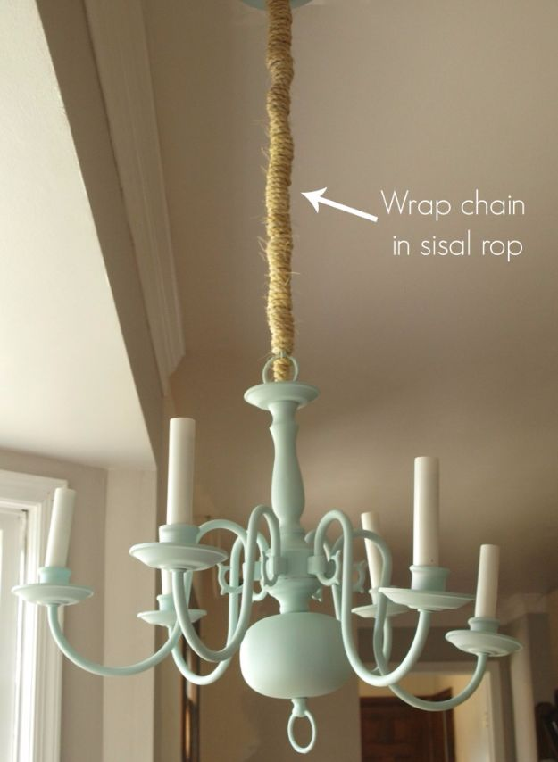 DIY Chandelier Makeovers - Mint And Sisal Rope Chandelier Redo - Easy Ideas for Old Brass, Crystal and Ugly Gold Chandelier Makeover - Cool Before and After Projects for Chandeliers - Farmhouse, Shabby Chic and Vintage Home Decor on A Budget - Living Room, Bedroom and Dining Room Idea DIY Joy Projects and Crafts