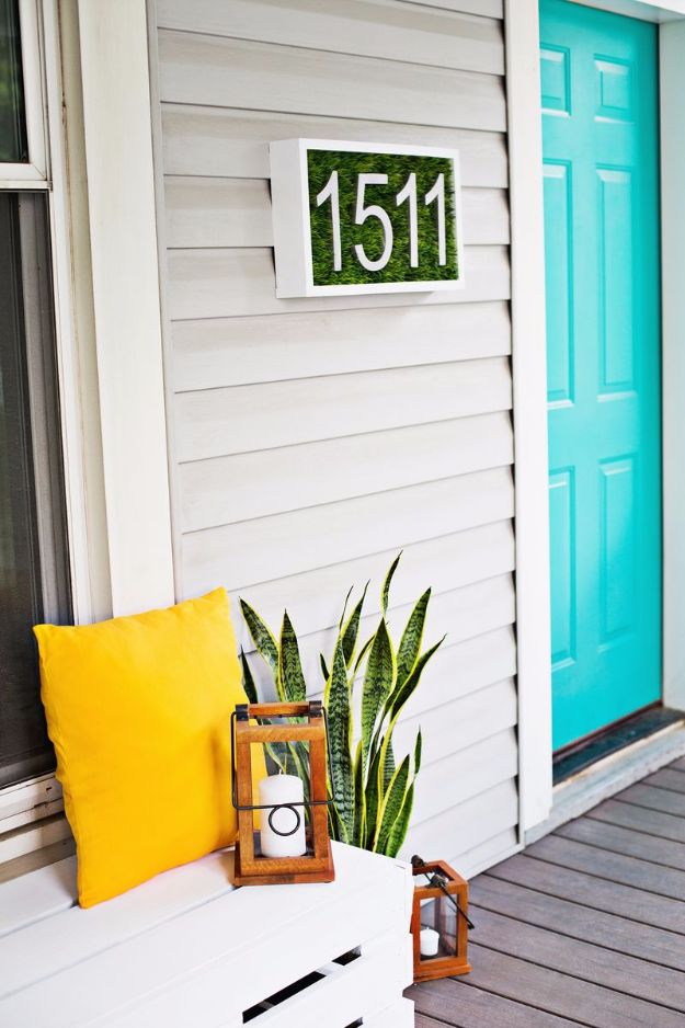 DIY Porch and Patio Ideas - Modern House Number DIY - Decor Projects and Furniture Tutorials You Can Build for the Outdoors - Lights and Lighting, Mason Jar Crafts, Rocking Chairs, Wreaths, Swings, Bench, Cushions, Chairs, Daybeds and Pallet Signs
