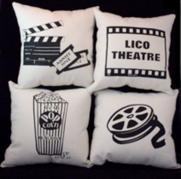 DIY Media Room Ideas - Movie Inspired Pillows - Do It Yourslef TV Consoles, Wall Art, Sofas and Seating, Chairs, TV Stands, Remote Holders and Shelving Tutorials - Creative Furniture for Movie Rooms and Video Game Stations #mediaroom #diydecor