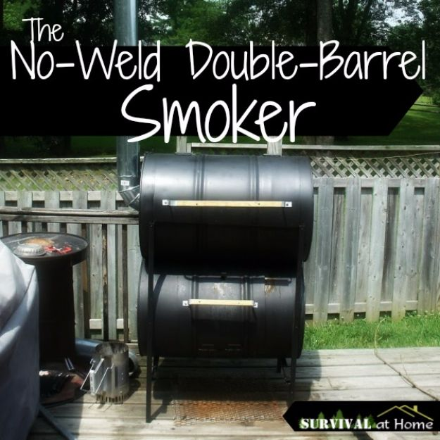 DIY Ideas With Old Barrels - No Weld Double Barrel Smoker - Rustic Farmhouse Decor Tutorials and Projects Made With a Barrel - Easy Vintage Home Decor for Kitchen, Living Room and Bathroom - Creative Country Crafts, Dog Beds, Seating, Furniture, Patio Decor and Rustic Wall Art and Accessories to Make and Sell