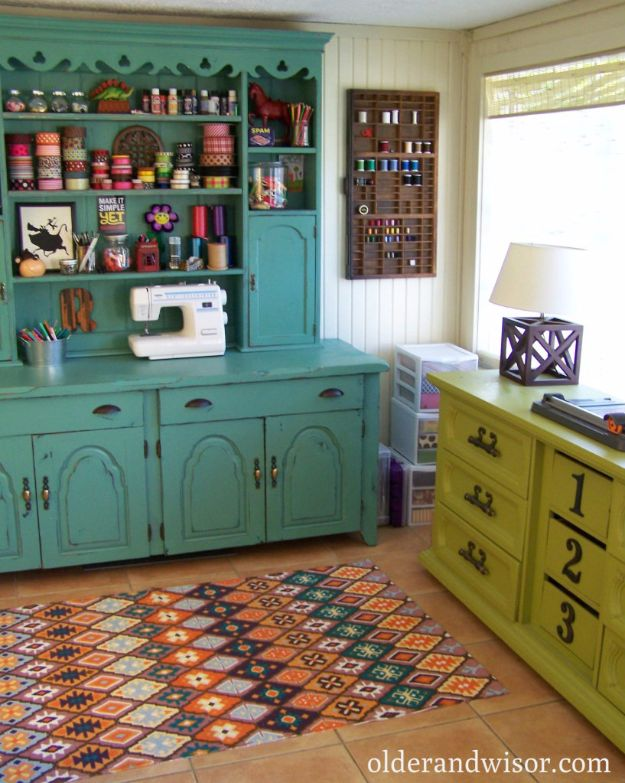 DIY Craft Room Ideas and Craft Room Organization Projects - Old Hutch Craft Room - Cool Ideas for Do It Yourself Craft Storage, Craft Room Decor and Organizing Project Ideas - fabric, paper, pens, creative tools, crafts supplies, shelves and sewing notions