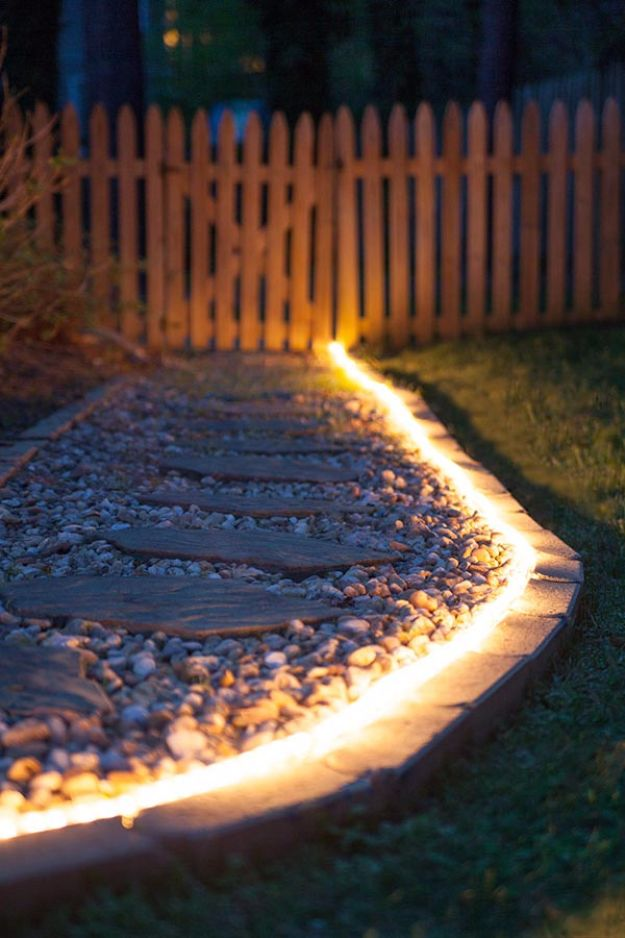 DIY Outdoor Lighting Ideas - Outdoor Rope Light - Do It Yourself Lighting Ideas for the Backyard, Patio, Porch and Pool - Lights, Chandeliers, Lamps and String Lights for Your Outdoors - Dining Table and Chair Lighting, Overhead, Sconces and Weatherproof Projects - Walkway, Pool and Garden http://diyjoy.com/diy-outdoor-lighting-ideas