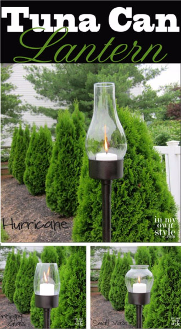 DIY Outdoor Lighting Ideas - Outdoor Tuna Can Lantern - Do It Yourself Lighting Ideas for the Backyard, Patio, Porch and Pool - Lights, Chandeliers, Lamps and String Lights for Your Outdoors - Dining Table and Chair Lighting, Overhead, Sconces and Weatherproof Projects - Walkway, Pool and Garden http://diyjoy.com/diy-outdoor-lighting-ideas