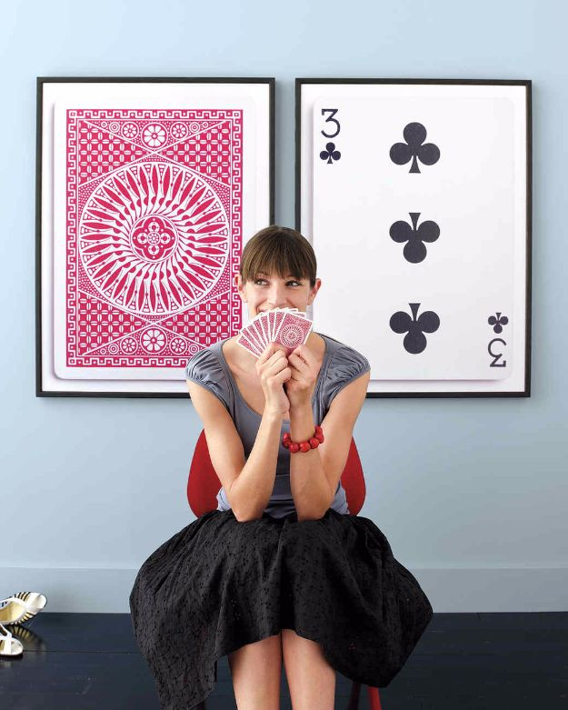 DIY Media Room Ideas - Oversized Poker Cards - Do It Yourslef TV Consoles, Wall Art, Sofas and Seating, Chairs, TV Stands, Remote Holders and Shelving Tutorials - Creative Furniture for Movie Rooms and Video Game Stations http://diyjoy.com/diy-media-room-ideas