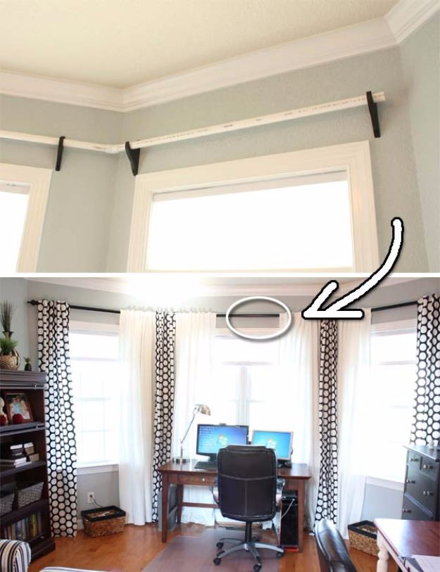DIY Remodeling Hacks - PVC Pipes As Curtain Rods - Quick and Easy Home Repair Tips and Tricks - Cool Hacks for DIY Home Improvement Ideas - Cheap Ways To Fix Bathroom, Bedroom, Kitchen, Outdoor, Living Room and Lighting - Creative Renovation on A Budget - DIY Projects and Crafts by DIY JOY #remodeling #homeimprovement #diy #hacks