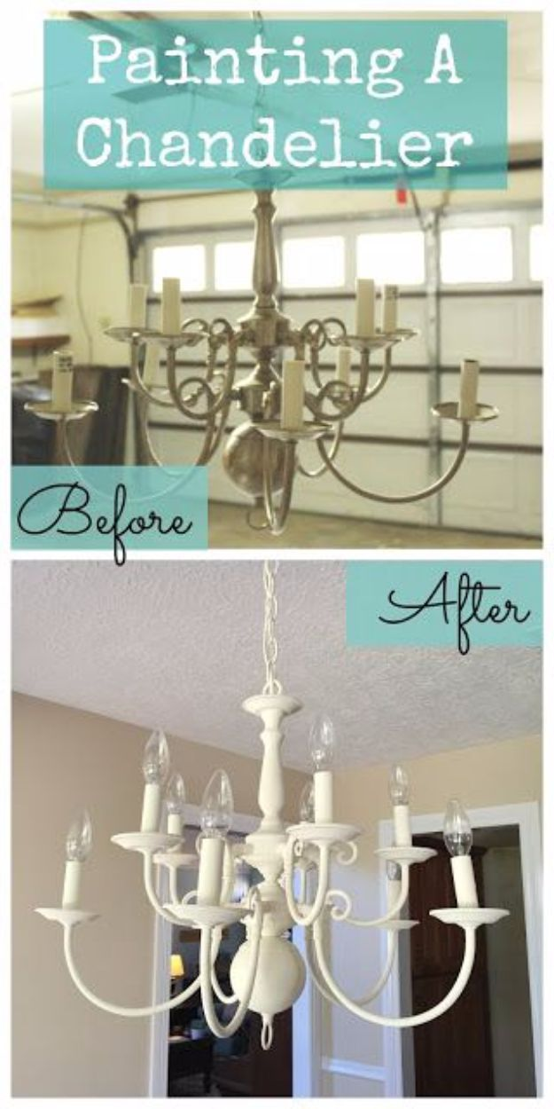 DIY Chandelier Makeovers - Paint A Chandelier Makeover - Easy Ideas for Old Brass, Crystal and Ugly Gold Chandelier Makeover - Cool Before and After Projects for Chandeliers - Farmhouse, Shabby Chic and Vintage Home Decor on A Budget - Living Room, Bedroom and Dining Room Idea DIY Joy Projects and Crafts http://diyjoy.com/diy-chandelier-makeovers