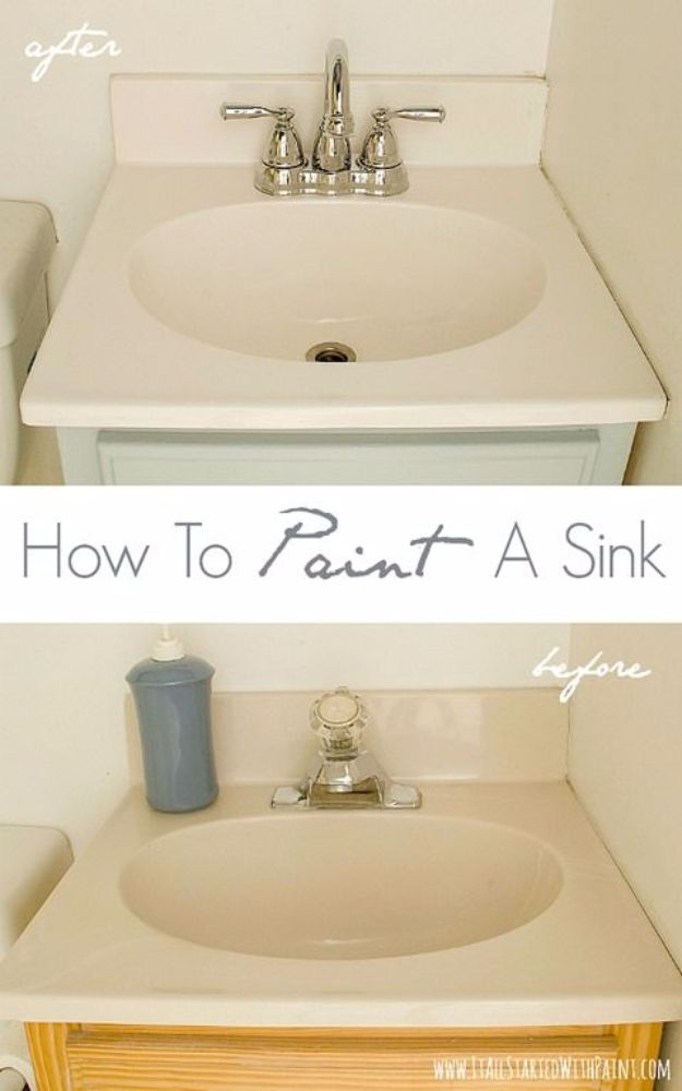 DIY Home Improvement Projects On A Budget - Paint A Sink - Cool Home Improvement Hacks, Easy and Cheap Do It Yourself Tutorials for Updating and Renovating Your House - Home Decor Tips and Tricks, Remodeling and Decorating Hacks - DIY Projects and Crafts by DIY JOY http://diyjoy.com/diy-home-improvement-ideas-budget
