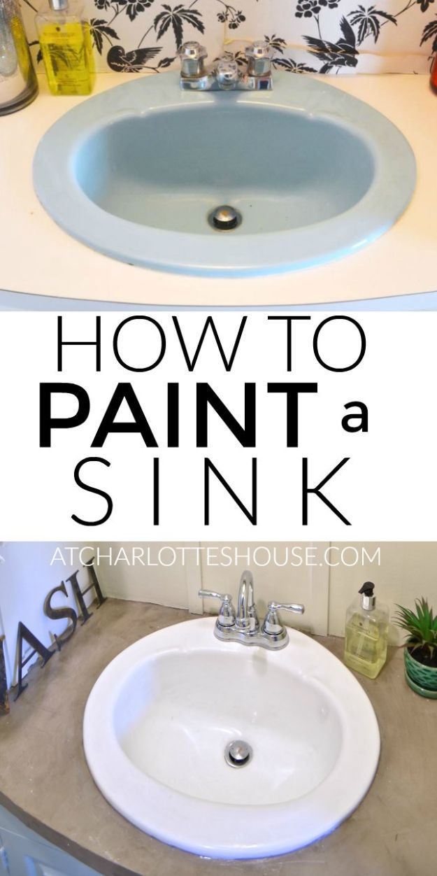 DIY Remodeling Hacks - Paint An Old Sink - Quick and Easy Home Repair Tips and Tricks - Cool Hacks for DIY Home Improvement Ideas - Cheap Ways To Fix Bathroom, Bedroom, Kitchen, Outdoor, Living Room and Lighting - Creative Renovation on A Budget - DIY Projects and Crafts by DIY JOY #remodeling #homeimprovement #diy #hacks