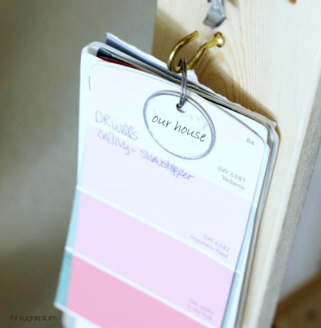 DIY Projects Your Garage Needs - Paint Swatch Hook - Do It Yourself Garage Makeover Ideas Include Storage, Mudroom, Organization, Shelves, and Project Plans for Cool New Garage Decor - Easy Home Decor on A Budget http://diyjoy.com/diy-garage-ideas