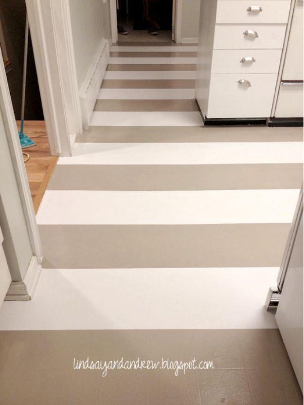 DIY Remodeling Hacks - Paint Your Linoleum Floors - Quick and Easy Home Repair Tips and Tricks - Cool Hacks for DIY Home Improvement Ideas - Cheap Ways To Fix Bathroom, Bedroom, Kitchen, Outdoor, Living Room and Lighting - Creative Renovation on A Budget - DIY Projects and Crafts by DIY JOY #remodeling #homeimprovement #diy #hacks