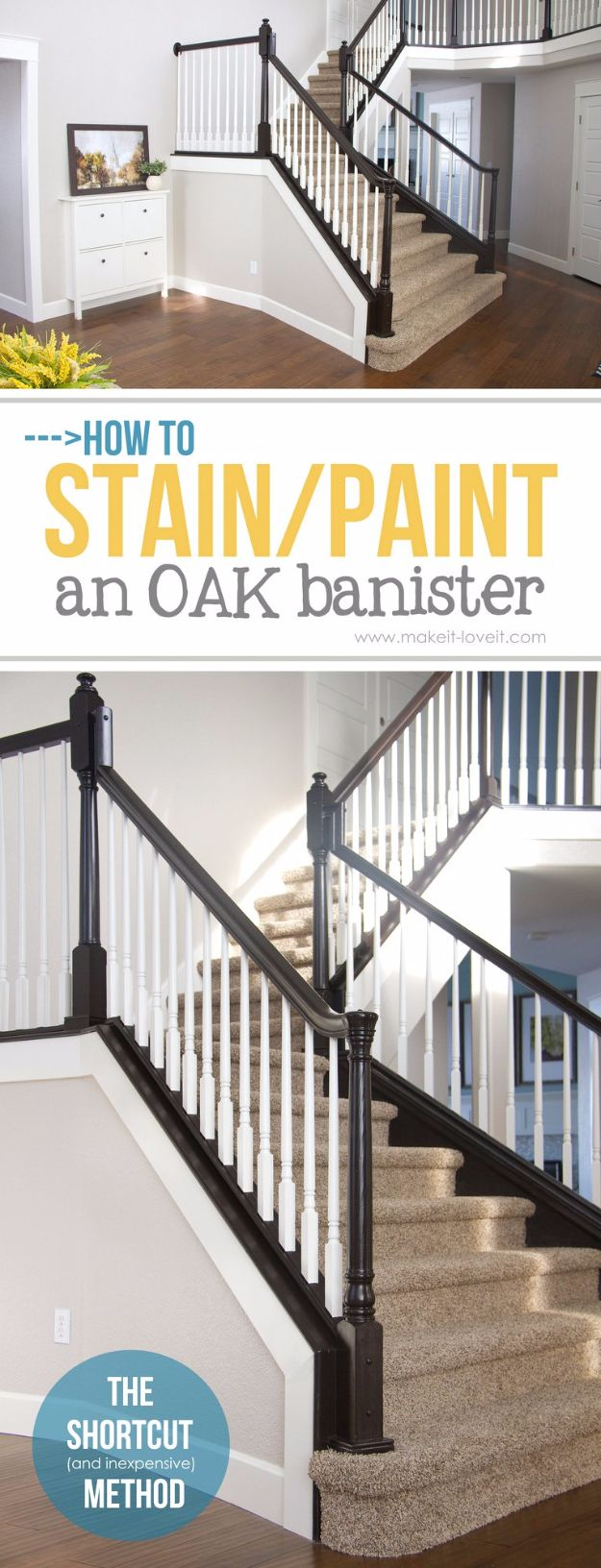 DIY Home Improvement Projects On A Budget - Paint an Oak Banister - Cool Home Improvement Hacks, Easy and Cheap Do It Yourself Tutorials for Updating and Renovating Your House - Home Decor Tips and Tricks, Remodeling and Decorating Hacks - DIY Projects and Crafts by DIY JOY http://diyjoy.com/diy-home-improvement-ideas-budget