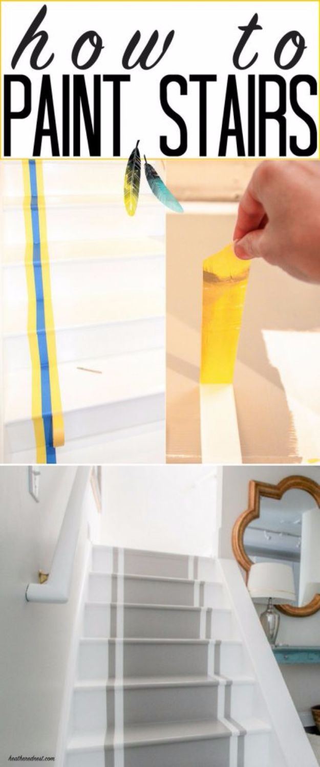 DIY Home Improvement Projects On A Budget - Painted Stairs - Cool Home Improvement Hacks, Easy and Cheap Do It Yourself Tutorials for Updating and Renovating Your House - Home Decor Tips and Tricks, Remodeling and Decorating Hacks - DIY Projects and Crafts by DIY JOY http://diyjoy.com/diy-home-improvement-ideas-budget