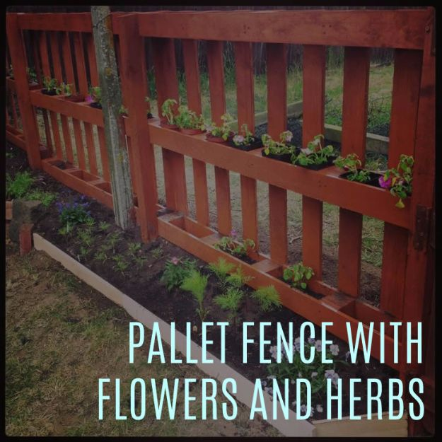DIY Ideas With Old Fence Posts - Pallet Fence With Flowers And Herbs - Rustic Farmhouse Decor Tutorials and Projects Made With An Old Fence Post - Easy Vintage Shelving, Wall Art, Picture Frames and Home Decor for Kitchen, Living Room and Bathroom - Creative Country Crafts, Seating, Furniture, Patio Decor and Rustic Wall Art and Accessories to Make and Sell http://diyjoy.com/diy-projects-old-windows