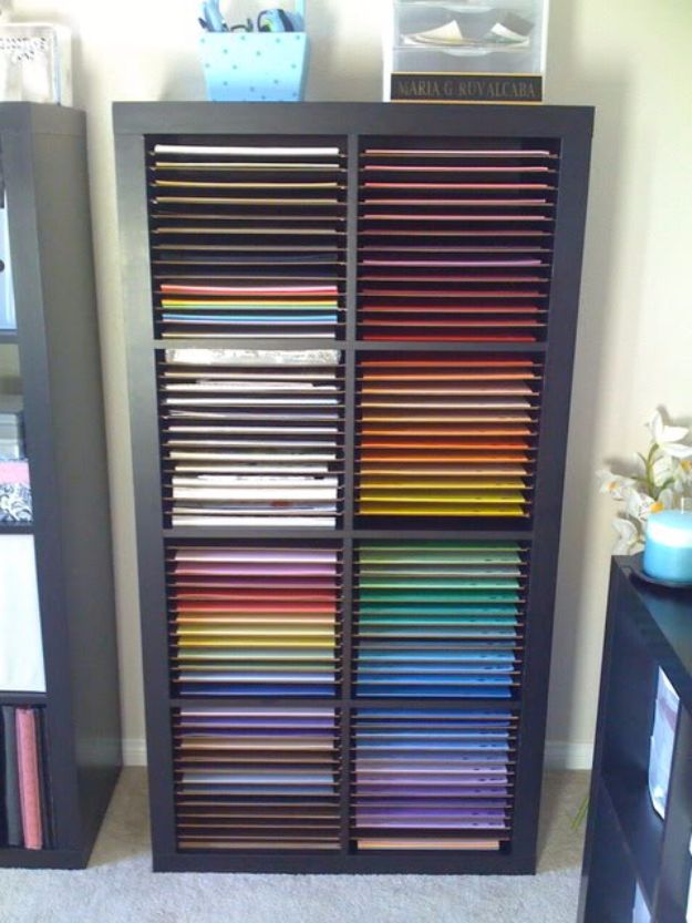 DIY Craft Room Storage Ideas and Craft Room Organization Projects - Paper Bookcase - Cool Ideas for Do It Yourself Craft Storage, Craft Room Decor and Organizing Project Ideas - fabric, paper, pens, creative tools, crafts supplies, shelves and sewing notions #diyideas #craftroom