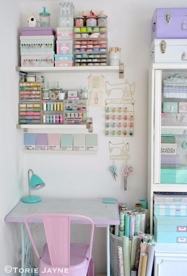 DIY Craft Room Ideas and Craft Room Organization Projects - Pastel Craft Room - Cool Ideas for Do It Yourself Craft Storage, Craft Room Decor and Organizing Project Ideas - fabric, paper, pens, creative tools, crafts supplies, shelves and sewing notions