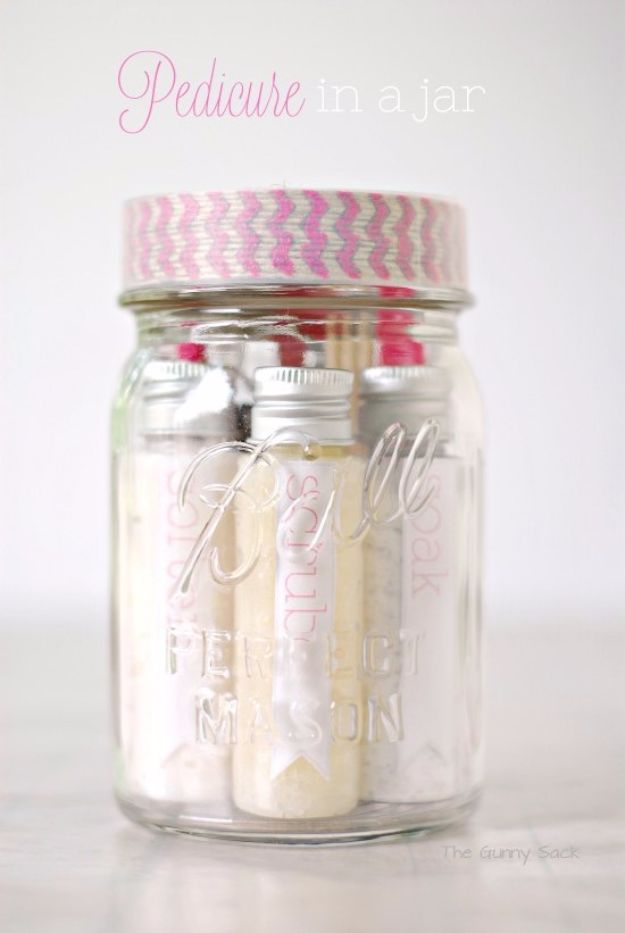 DIY Spa Day Ideas - Pedicure In A Jar - Easy Sugar Scrubs, Lotions and Bath Ideas for The Best Pampering You Can Do At Home - Lavender Projects, Relaxing Baths and Bath Bombs, Tub Soaks and Facials - Step by Step Tutorials for Luxury Bath Products http://diyjoy.com/diy-spa-day-ideas
