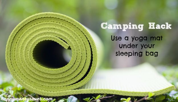 DIY Camping Hacks - Place Yoga Mat Under Sleeping Bag - Easy Tips and Tricks, Recipes for Camping - Gear Ideas, Cheap Camping Supplies, Tutorials for Making Quick Camping Food, Fire Starters, Gear Holders and More http://diyjoy.com/camping-hacks