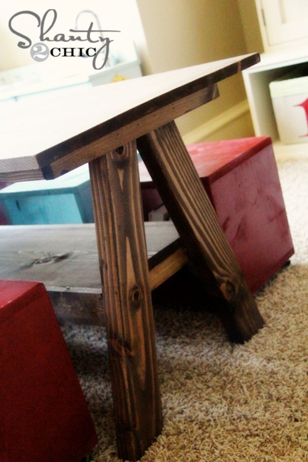 DIY Playroom Ideas and Furniture - Playroom Kid's Table - Easy Play Room Storage, Furniture Ideas for Kids, Playtime Rugs and Activity Mats, Shelving, Toy Boxes and Wall Art - Cute DIY Room Decor for Boys and Girls - Fun Crafts with Step by Step Tutorials and Instructions http://diyjoy.com/diy-playroom-ideas