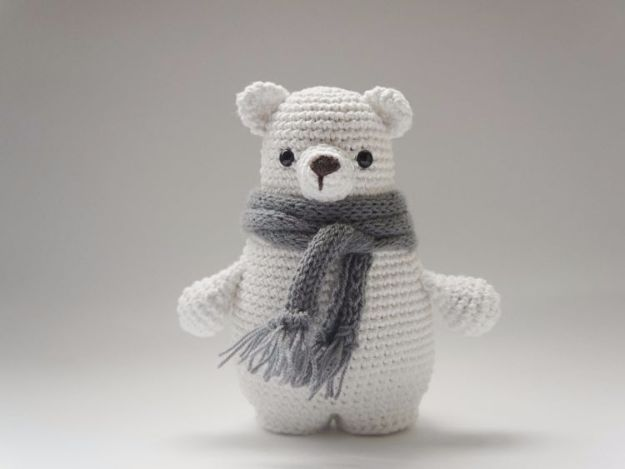 Free Amigurumi Patterns For Beginners and Pros - Polar Bear Amigurumi - Easy Amigurimi Tutorials With Step by Step Instructions - Learn How To Crochet Cute Amigurimi Animals, Doll, Mobile, Mini Elephant, Cat, Dinosaur, Owl, Bunny, Dog - Creative Ways to Crochet Cool DIY Gifts for Kids, Teens, Baby and Adults #amigurumi #crochet