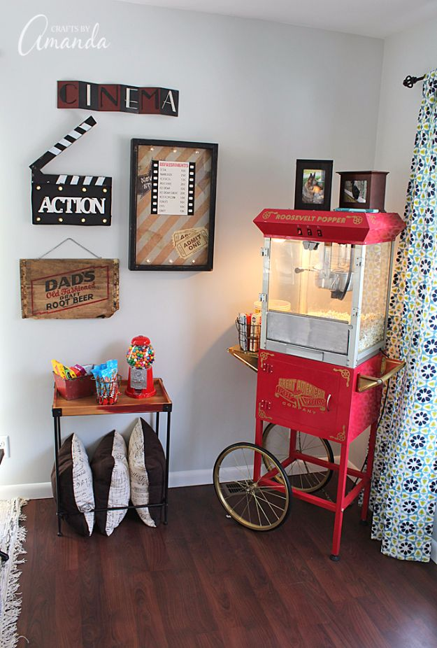 DIY Media Room Ideas - Popcorn Machine - Do It Yourslef TV Consoles, Wall Art, Sofas and Seating, Chairs, TV Stands, Remote Holders and Shelving Tutorials - Creative Furniture for Movie Rooms and Video Game Stations http://diyjoy.com/diy-media-room-ideas