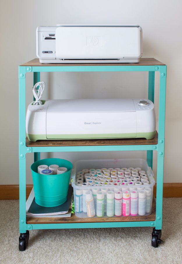 DIY Craft Room Storage Ideas and Craft Room Organization Projects - Printer Cart Craft Room Storage - Cool Ideas for Do It Yourself Craft Storage, Craft Room Decor and Organizing Project Ideas - fabric, paper, pens, creative tools, crafts supplies, shelves and sewing notions #diyideas #craftroom
