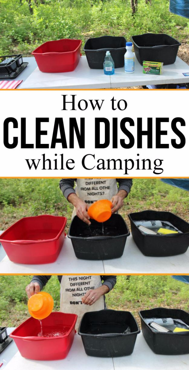 DIY Camping Hacks - Proper Way to Clean Dishes While Camping - Easy Tips and Tricks, Recipes for Camping - Gear Ideas, Cheap Camping Supplies, Tutorials for Making Quick Camping Food, Fire Starters, Gear Holders and More http://diyjoy.com/camping-hacks