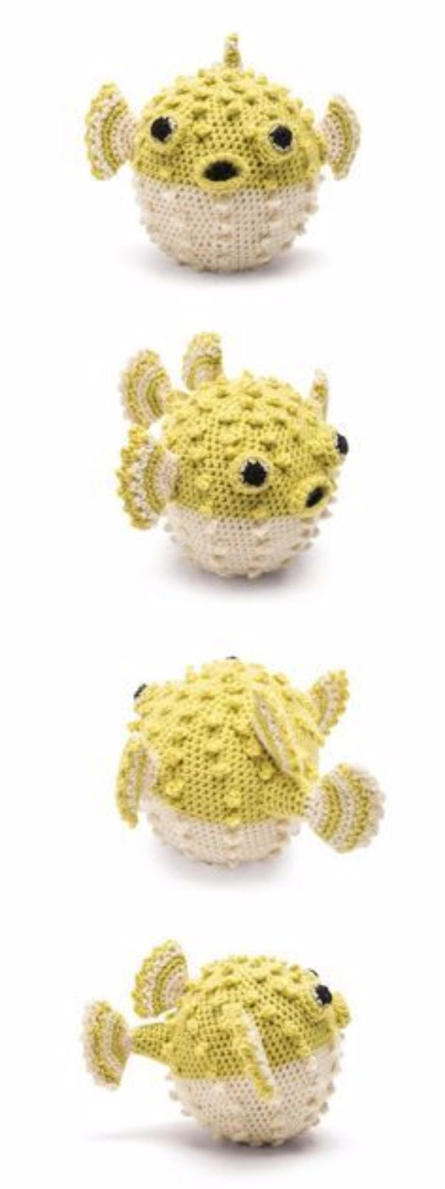 Free Amigurumi Patterns For Beginners and Pros - Puffer Fish Amigurumi - Easy Amigurimi Tutorials With Step by Step Instructions - Learn How To Crochet Cute Amigurimi Animals, Doll, Mobile, Mini Elephant, Cat, Dinosaur, Owl, Bunny, Dog - Creative Ways to Crochet Cool DIY Gifts for Kids, Teens, Baby and Adults #amigurumi #crochet