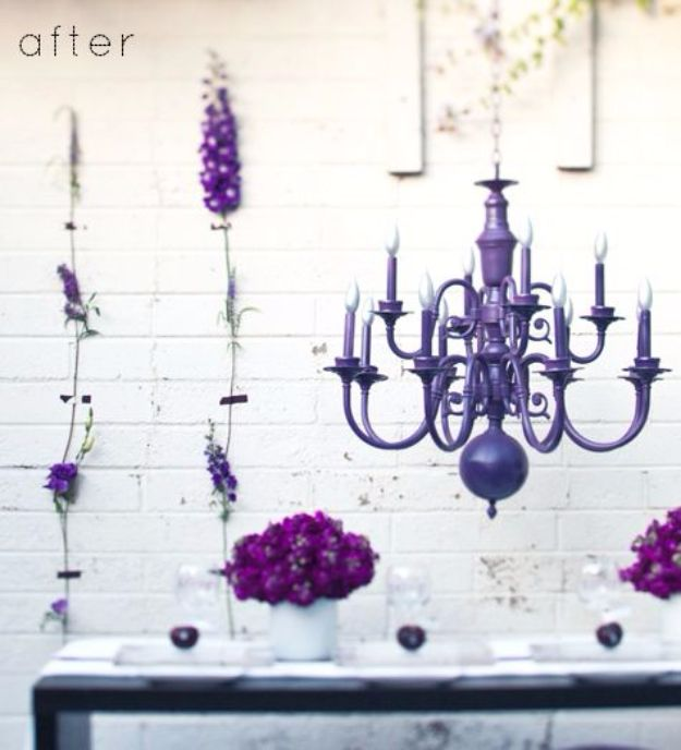 DIY Chandelier Makeovers - Purple Chandelier Redo - Easy Ideas for Old Brass, Crystal and Ugly Gold Chandelier Makeover - Cool Before and After Projects for Chandeliers - Farmhouse, Shabby Chic and Vintage Home Decor on A Budget - Living Room, Bedroom and Dining Room Idea DIY Joy Projects and Crafts http://diyjoy.com/diy-chandelier-makeovers