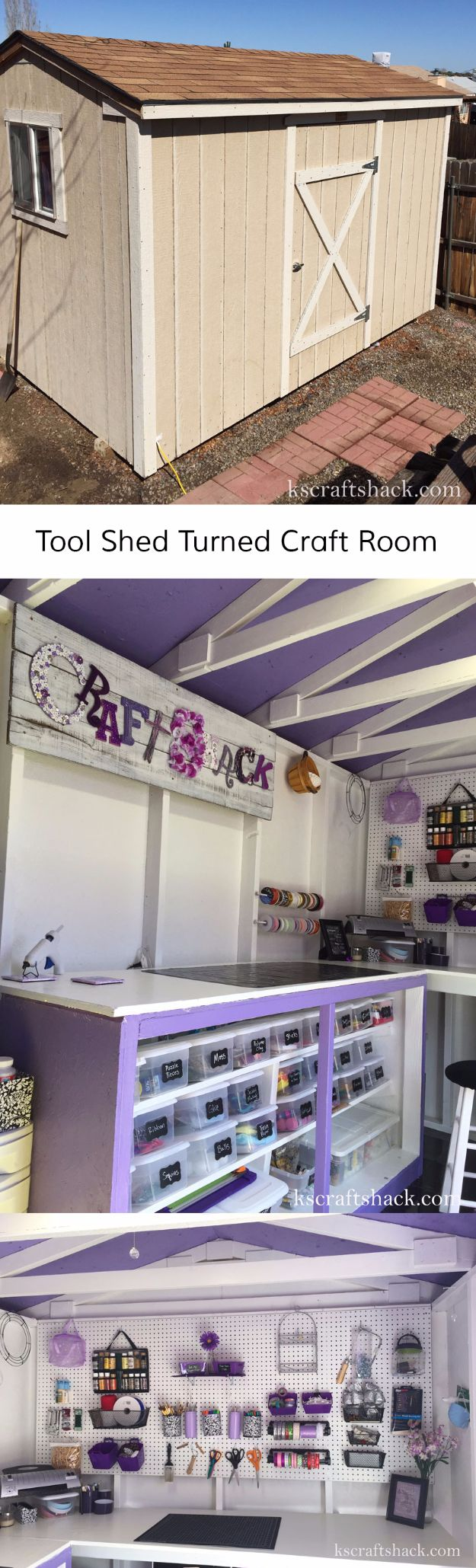 DIY Craft Room Ideas and Craft Room Organization Projects - Purple Peg Board - Cool Ideas for Do It Yourself Craft Storage, Craft Room Decor and Organizing Project Ideas - fabric, paper, pens, creative tools, crafts supplies, shelves and sewing notions
