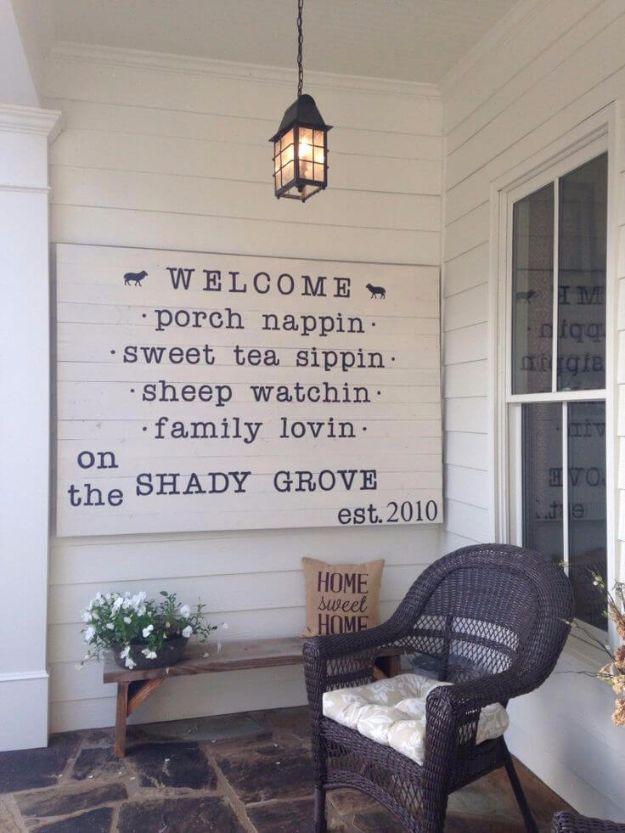 DIY Porch and Patio Ideas - Quaint & Quirky Porch Welcome Sign - Decor Projects and Furniture Tutorials You Can Build for the Outdoors - Lights and Lighting, Mason Jar Crafts, Rocking Chairs, Wreaths, Swings, Bench, Cushions, Chairs, Daybeds and Pallet Signs http://diyjoy.com/diy-porch-patio-decor