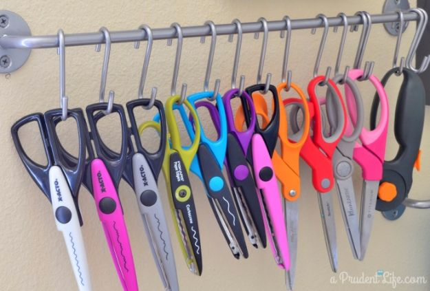 DIY Craft Room Storage Ideas and Craft Room Organization Projects - Rail Hooks Scissor Storage - Cool Ideas for Do It Yourself Craft Storage, Craft Room Decor and Organizing Project Ideas - fabric, paper, pens, creative tools, crafts supplies, shelves and sewing notions #diyideas #craftroom