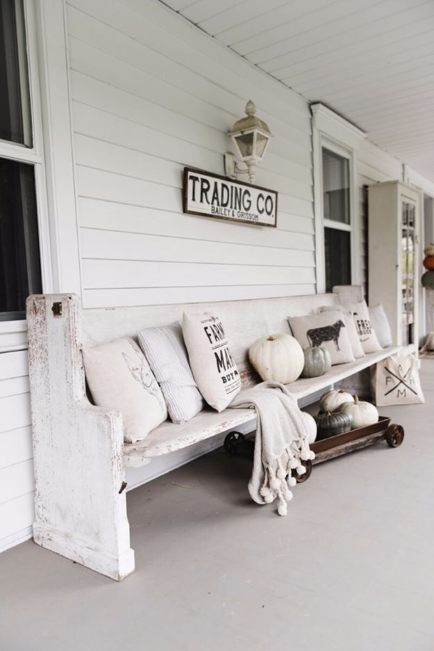 DIY Porch and Patio Ideas - Railway Station Style Runner Bench - Decor Projects and Furniture Tutorials You Can Build for the Outdoors - Lights and Lighting, Mason Jar Crafts, Rocking Chairs, Wreaths, Swings, Bench, Cushions, Chairs, Daybeds and Pallet Signs