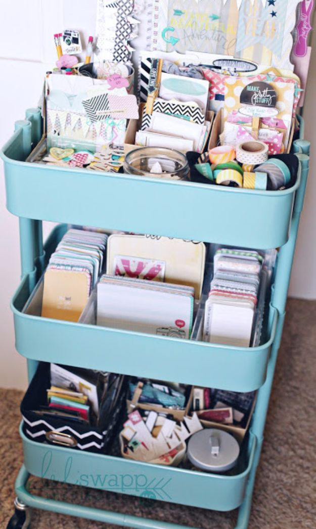 DIY Craft Room Storage Ideas and Craft Room Organization Projects - Repurpose IKEA Cart As Craft Storage - Cool Ideas for Do It Yourself Craft Storage, Craft Room Decor and Organizing Project Ideas - fabric, paper, pens, creative tools, crafts supplies, shelves and sewing notions #diyideas #craftroom
