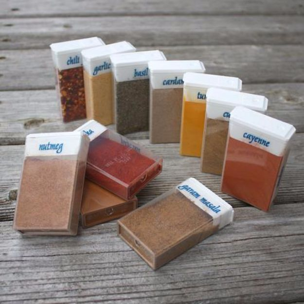 DIY Camping Hacks - Repurposed TicTac Boxes for Travel Spices - Easy Tips and Tricks, Recipes for Camping - Gear Ideas, Cheap Camping Supplies, Tutorials for Making Quick Camping Food, Fire Starters, Gear Holders and More http://diyjoy.com/camping-hacks