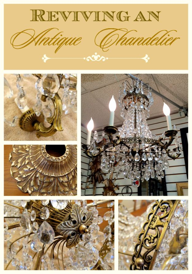 DIY Chandelier Makeovers - Revive An Antique Chandelier - Easy Ideas for Old Brass, Crystal and Ugly Gold Chandelier Makeover - Cool Before and After Projects for Chandeliers - Farmhouse, Shabby Chic and Vintage Home Decor on A Budget - Living Room, Bedroom and Dining Room Idea DIY Joy Projects and Crafts http://diyjoy.com/diy-chandelier-makeovers