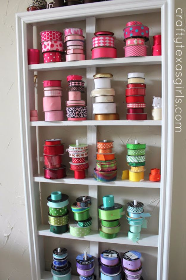 DIY Craft Room Storage Ideas and Craft Room Organization Projects - Ribbon Holder - Cool Ideas for Do It Yourself Craft Storage, Craft Room Decor and Organizing Project Ideas - fabric, paper, pens, creative tools, crafts supplies, shelves and sewing notions http://diyjoy.com/diy-craft-room-storage