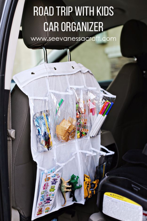 Best DIY Ideas for a Summer Road Trip - Road Trip Car Organizer - Cool Crafts and Easy Projects to Make For Road Trips in the Car - Fun Crafts to Make for Vacation - Creative Ideas for Making Cheap Travel Ideas With Creative Money Saving Tips http://diyjoy.com/diy-ideas-summer-road-trip