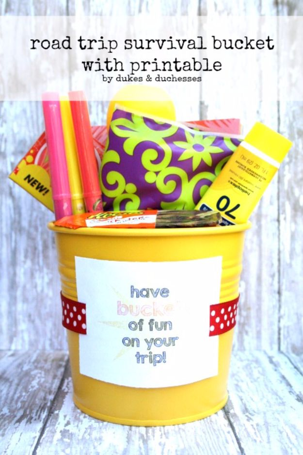Best DIY Ideas for a Summer Road Trip - Road Trip Survival Bucket - Cool Crafts and Easy Projects to Make For Road Trips in the Car - Fun Crafts to Make for Vacation - Creative Ideas for Making Cheap Travel Ideas With Creative Money Saving Tips http://diyjoy.com/diy-ideas-summer-road-trip