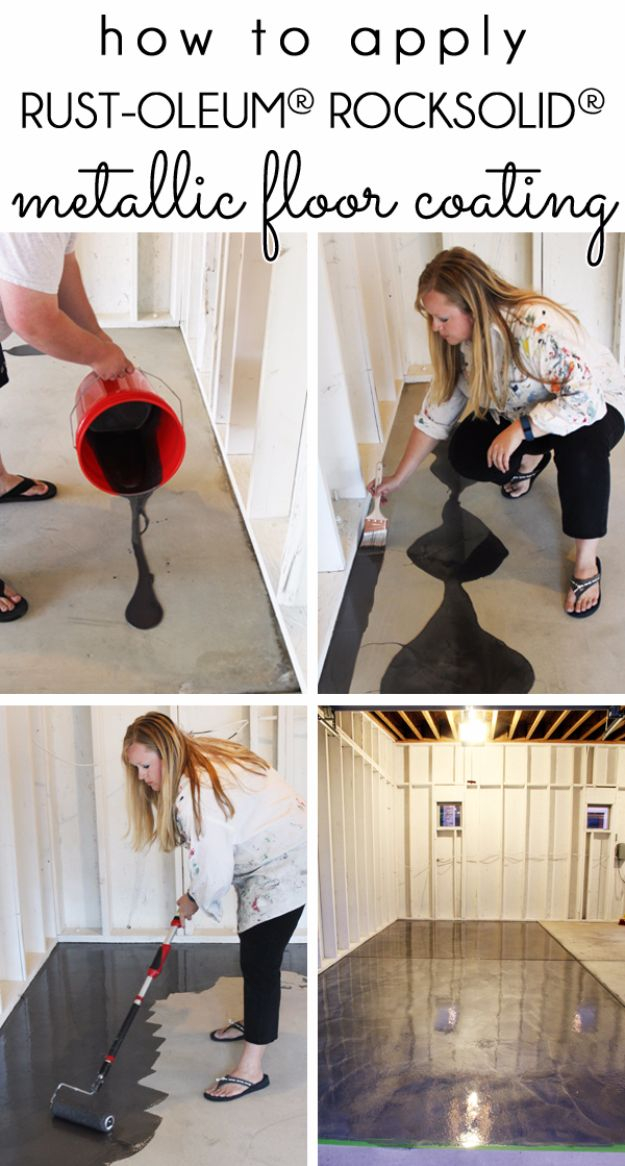 DIY Projects Your Garage Needs - RockSolid Metallic Garage Floor Finish - Do It Yourself Garage Makeover Ideas Include Storage, Mudroom, Organization, Shelves, and Project Plans for Cool New Garage Decor - Easy Home Decor on A Budget http://diyjoy.com/diy-garage-ideas