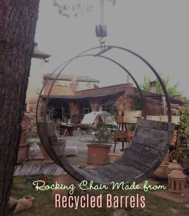 DIY Ideas With Old Barrels - Rocking Chair Made From Recycled Barrels - Rustic Farmhouse Decor Tutorials and Projects Made With a Barrel - Easy Vintage Home Decor for Kitchen, Living Room and Bathroom - Creative Country Crafts, Dog Beds, Seating, Furniture, Patio Decor and Rustic Wall Art and Accessories to Make and Sell tp://diyjoy.com/diy-projects-old-barrels