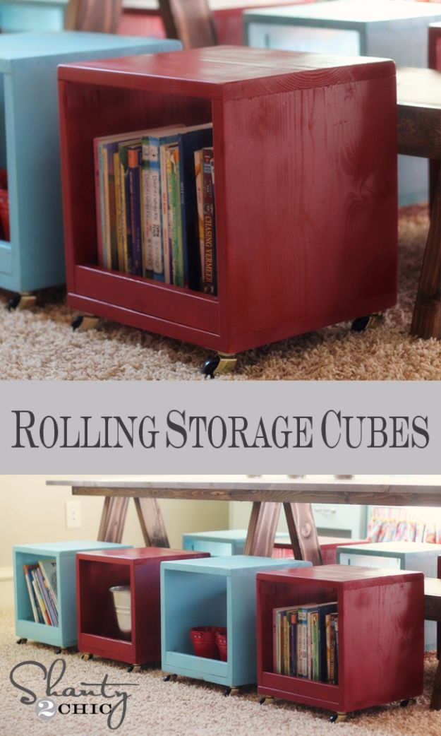 DIY Playroom Ideas and Furniture - Rolling Storage Cube Stools - Easy Play Room Storage, Furniture Ideas for Kids, Playtime Rugs and Activity Mats, Shelving, Toy Boxes and Wall Art - Cute DIY Room Decor for Boys and Girls - Fun Crafts with Step by Step Tutorials and Instructions http://diyjoy.com/diy-playroom-ideas