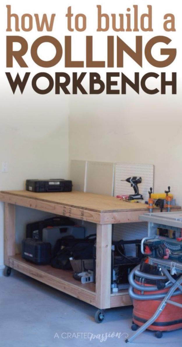 DIY Projects Your Garage Needs - Rolling Workbench - Do It Yourself Garage Makeover Ideas Include Storage, Mudroom, Organization, Shelves, and Project Plans for Cool New Garage Decor - Easy Home Decor on A Budget http://diyjoy.com/diy-garage-ideas