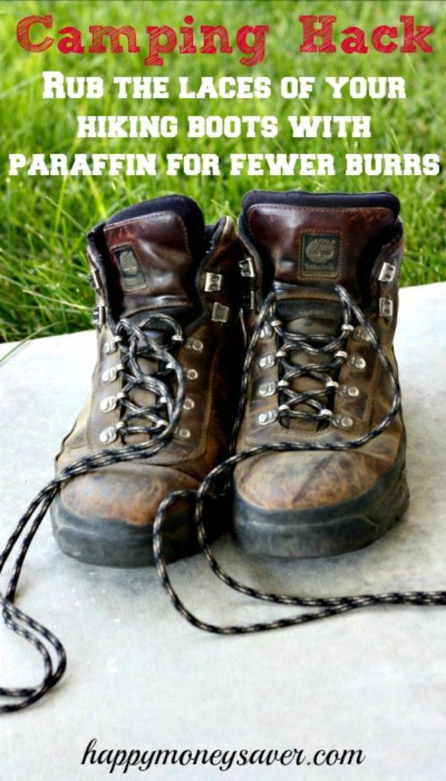 DIY Camping Hacks - Rub Hiking Boots With Paraffin - Easy Tips and Tricks, Recipes for Camping - Gear Ideas, Cheap Camping Supplies, Tutorials for Making Quick Camping Food, Fire Starters, Gear Holders and More http://diyjoy.com/camping-hacks